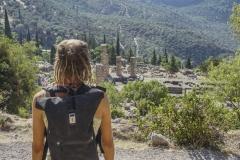 Blick auf die Ruinen von Delphi